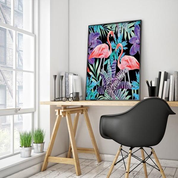 Plakát s plameňáky a květinami, černé pozadí, 30 x 40 cm