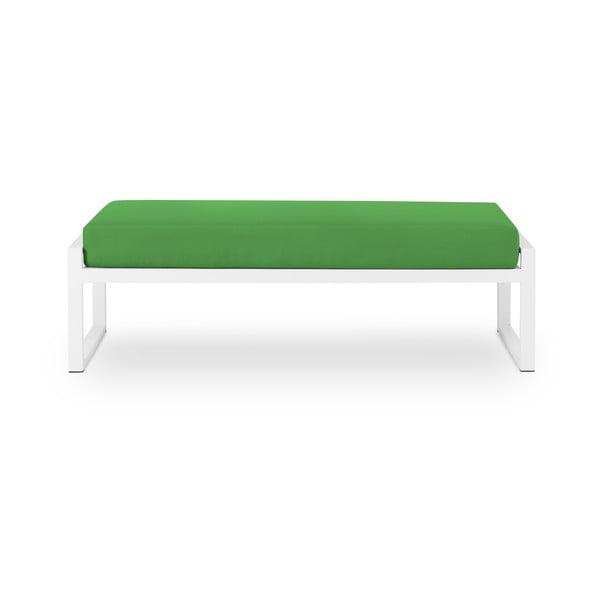 Zelená dvojmiestna vonkajšia lavica v bielom ráme Calme Jardin Nicea