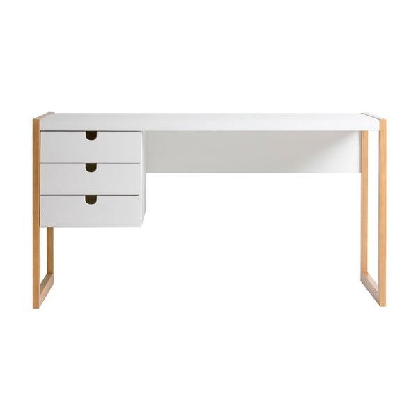 Białe biurko Marckeric Square, 140x75 cm