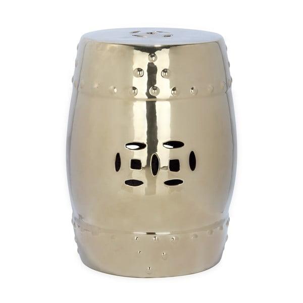 Masă din ceramică adecvată pentru exterior Safavieh Modern Ming, ø33cm, auriu