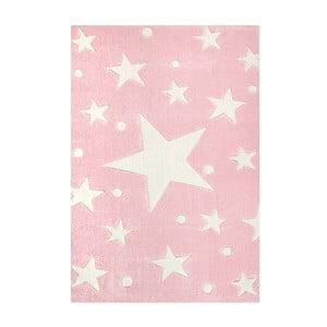 Růžový dětský koberec Happy Rugs Star Constellation, 80x150cm