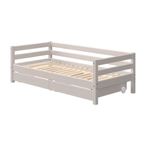 Šedá dětská postel z borovicového dřeva s přídavným výsuvným lůžkem Flexa Classic