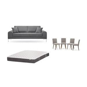 Set třímístné šedé pohovky, 4šedobéžových židlí a matrace 160 x 200 cm Home Essentials