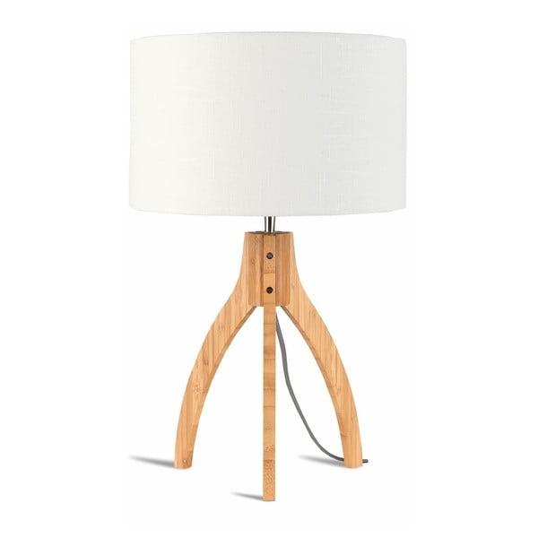 Stolní lampa s bílým stínidlem a konstrukcí z bambusu Good&Mojo Annapurna