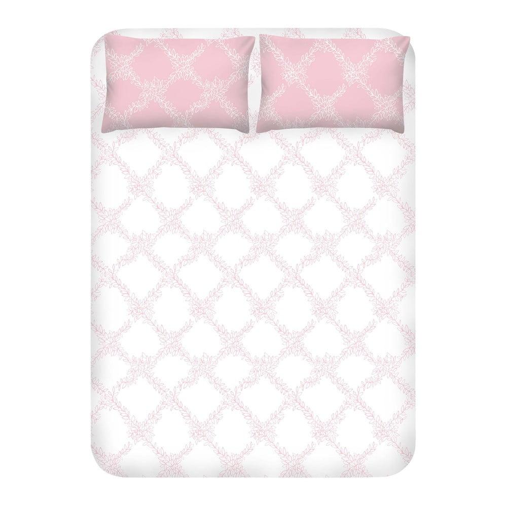 Set prostěradla a 2 povlaků na polštáře EnLora Home Nadine Pink, 240 x 260 cm