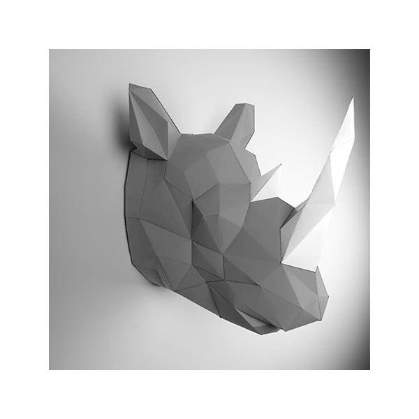 Papírová trofej Nosorožec, šedo-bílý