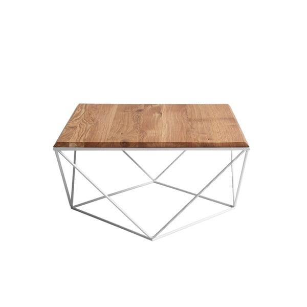 Konferenční stolek s bílým podnožím a deskou z masivního dubu Custom Form Daryl, šířka80cm