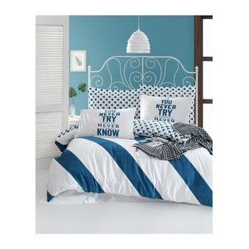 Lenjerie de pat din bumbac ranforce pentru pat de 1 persoană Mijolnir Erona Blue, 140 x 200 cm imagine