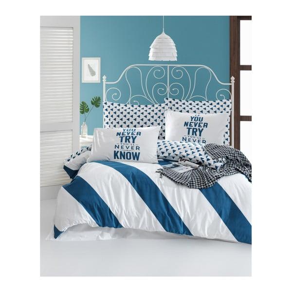 Lenjerie de pat din bumbac ranforce pentru pat de 1 persoană Mijolnir Erona Blue, 140 x 200 cm