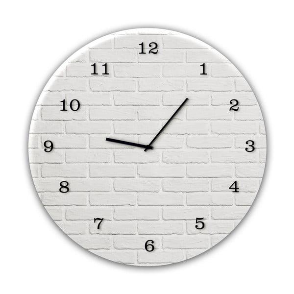Glassclock White Brick falióra, ⌀ 30 cm - Styler