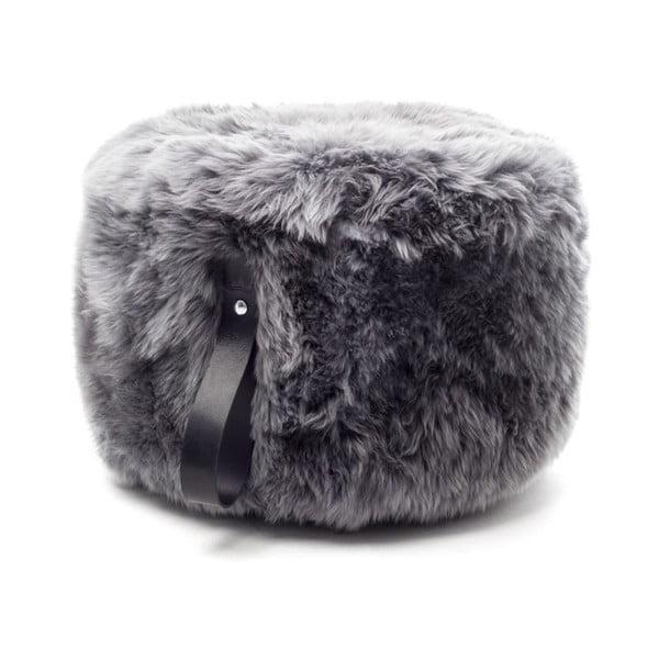 Šedo-černý kulatý puf z ovčí vlny Royal Dream