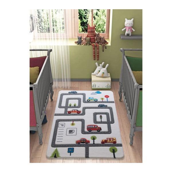 Dětský šedý koberec Confetti Roads,133x190cm
