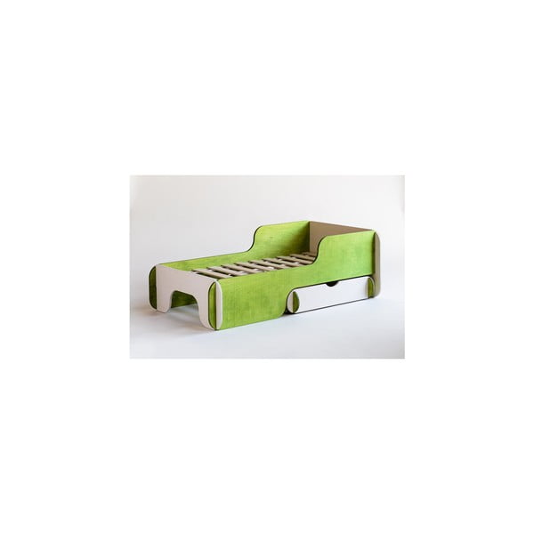 Dětská postel Piku Green and White, 90x200 cm