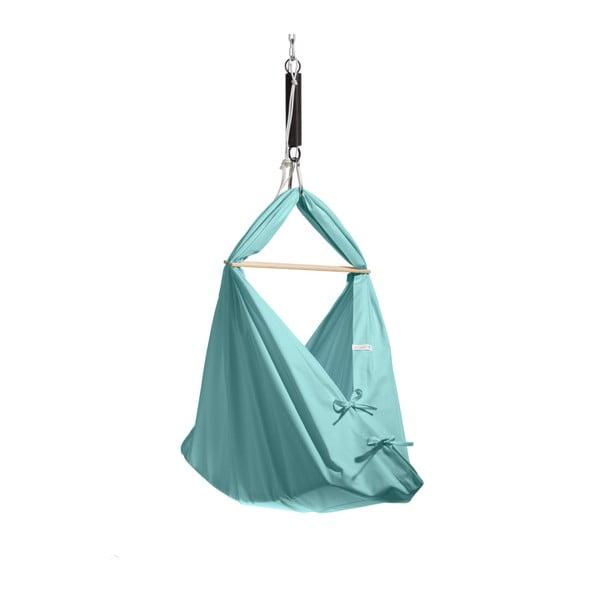 Malá mentolovozelená kolíska z bavlny so zavesením do dverí Hojdavak Baby (0až9mesiacov)