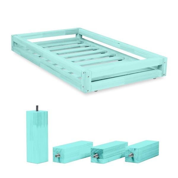 Sada modrej zásuvky pod posteľ a 4 predĺžených nôh Benlemi, pre posteľ 120×200 cm
