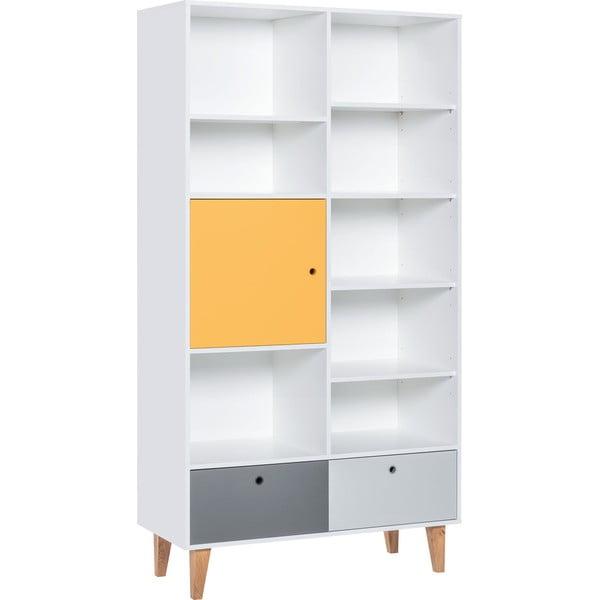 Knihovna se žlutými dvířky z dubového dřeva Vox Concept, 105x201,5cm