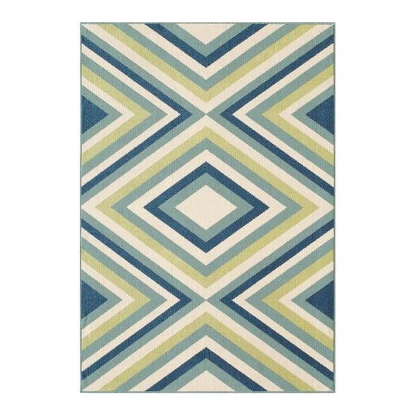 Modro-zelený venkovní koberec Floorita Rombi, 133 x 190 cm