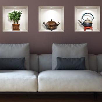 Set 3 autocolante 3D pentru perete Ambiance Japanese Plant