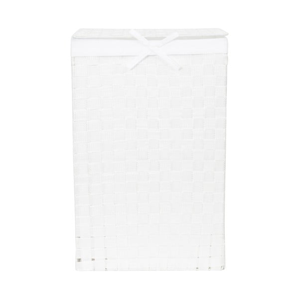 Biely kôš na bielizeň s vekom Compactor Laundry Basket Linen, výška 60 cm