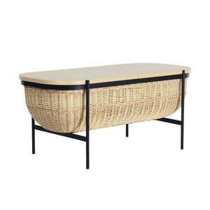 Proutěná lavice s černou konstrukcí a úložným prostorem OK Design Willow