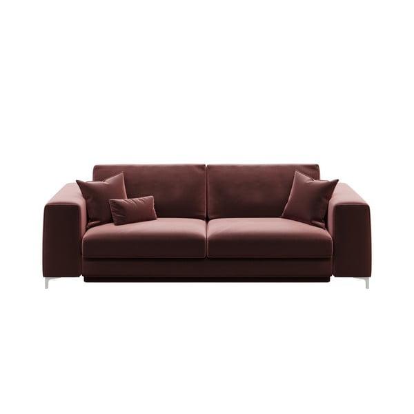 Canapea extensibilă cu 3 locuri devichy Rothe, roz închis