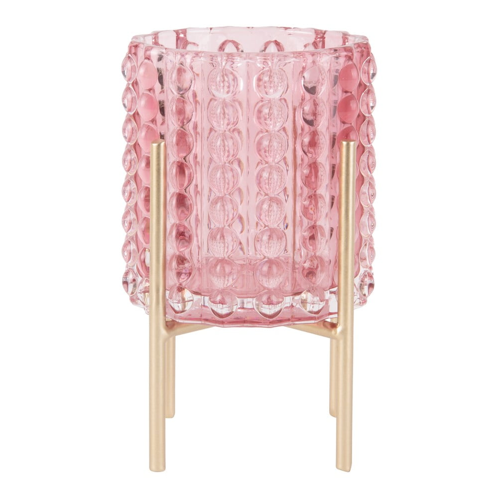 Růžový svícen PT LIVING Drops, výška15cm