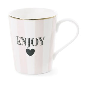Cană din ceramică  Miss Étoile Coffee Enjoy Stripe Rose, Ø 8 cm