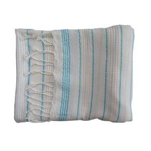 Tyrkysovo-bílá ručně tkaná osuška z prémiové bavlny Homemania Bodrum Hammam,100x180 cm