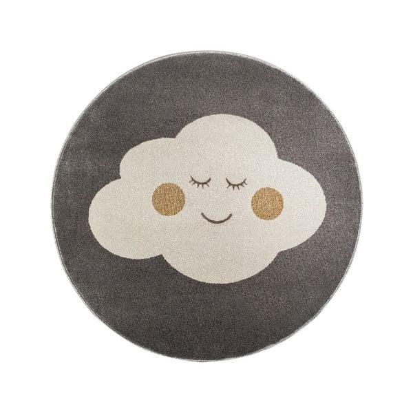 Sivý okrúhly koberec s motívom mraku KICOTI Grey Cloud, 133 × 133 cm