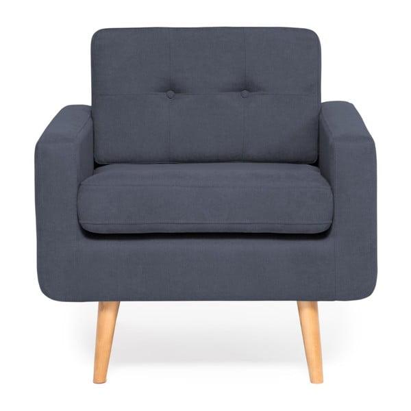 Granatowy fotel Vivonita Ina