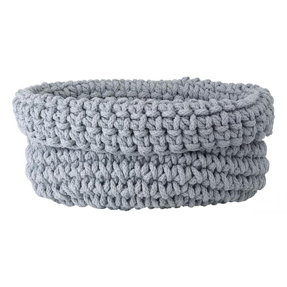Šedý pletený bavlněný košík Blomus, ø38cm