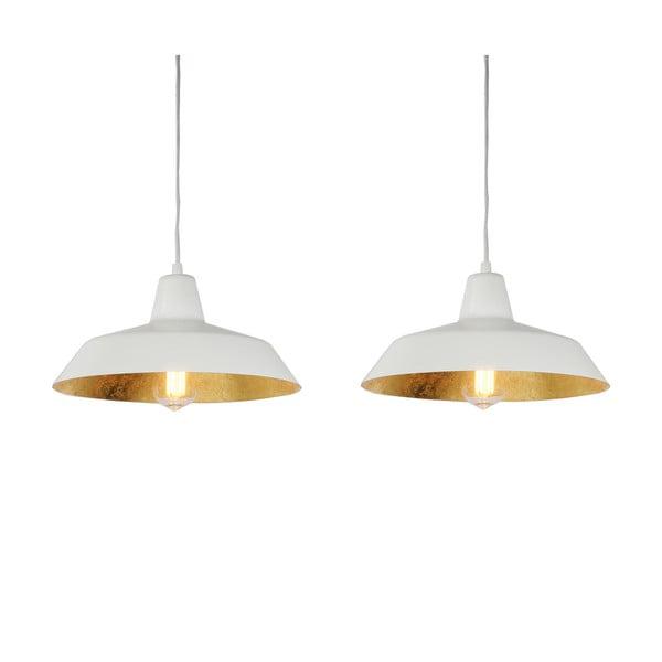 Lampa wisząca z 2 białymi kablami i kloszami w białym oraz w kolorze złota Bulb Attack Cinco