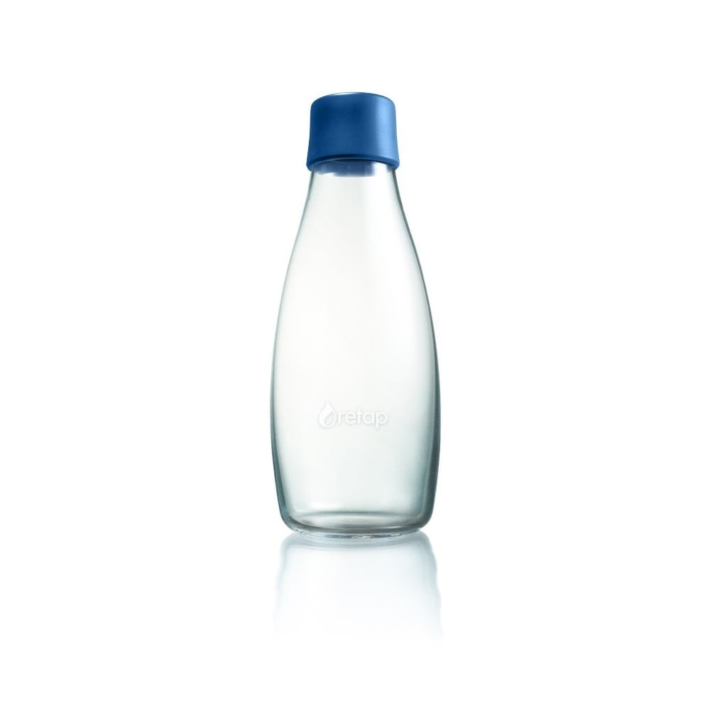 Tmavěmodrá skleněná lahev ReTap s doživotní zárukou, 500ml