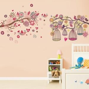 Samolepka na zeď WALPLUS Huge Pink Bird Birdcage