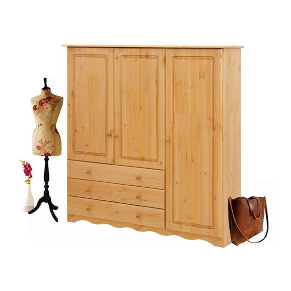 Šatní skříň z masivního borovicového dřeva Støraa Amanda Trio