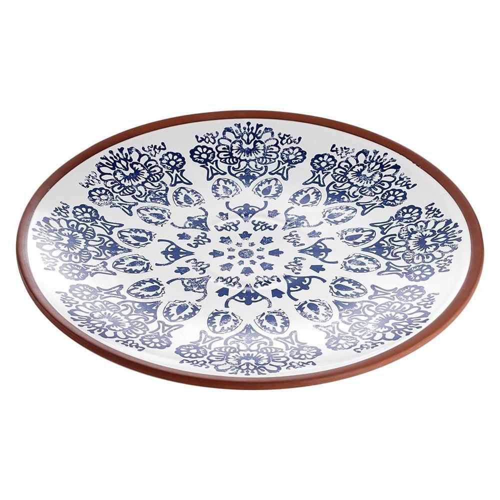 Terakotový kulatý servírovací talíř s modrým vzorem Ladelle Tapas, ⌀ 35 cm