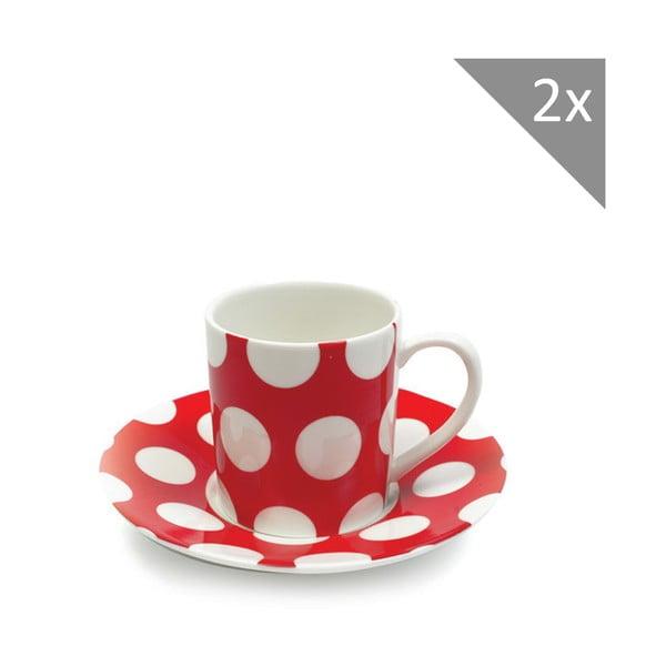 Sada dvou šálků na espresso s podšálkem, červený puntík