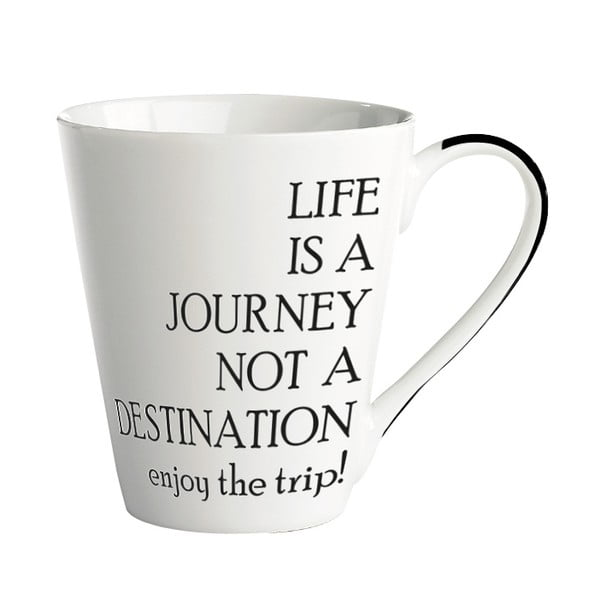 Porcelánový hrnek KJ Collection Life Is A Journey, 300 ml