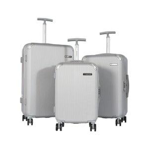 Sada 3 šedých cestovních kufrů na kolečkách Travel World