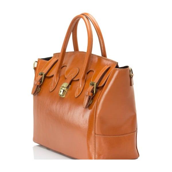 Koňakově hnědá kožená kabelka Lisa Minardi Pomona