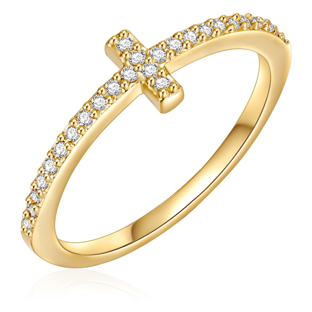 Dámský prsten zlaté barvy Runaway Cross, 58