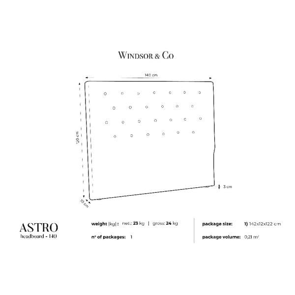 Fialové čelo postele Windsor & Co Sofas Astro, 140 x 120 cm