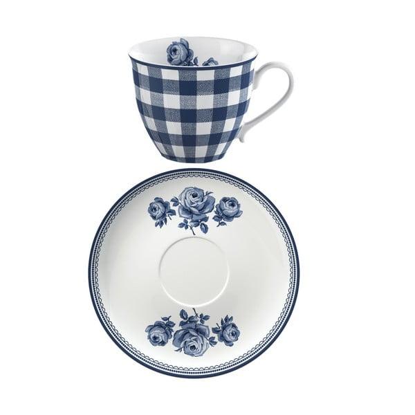Porcelánový hrnek s podšálkem Creative Tops Vintage Indigo, 200 ml
