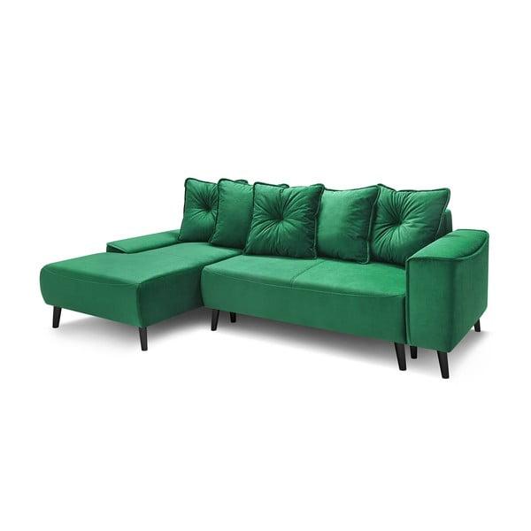 Canapea extensibilă cu colțar pe partea stângă Bobochic Paris Hera Bis, verde