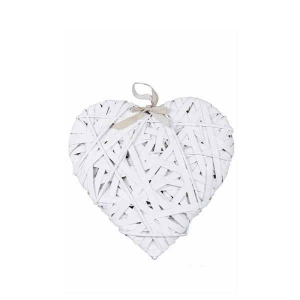 Bílá závěsná dekorace ve tvaru srdce Ego Dekor, délka41cm