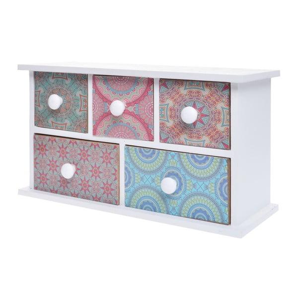Dřevěná skříňka s 5 šuplíky Ewax Parejo, 24 x 9 x 13 cm
