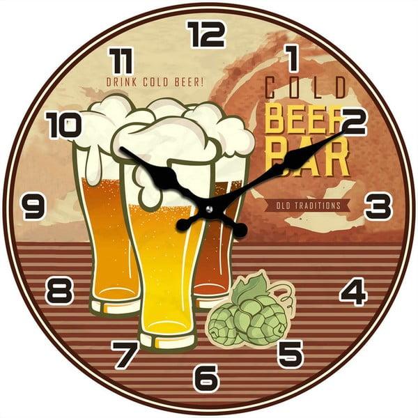 Skleněné hodiny Cold Beer Bar, 34 cm