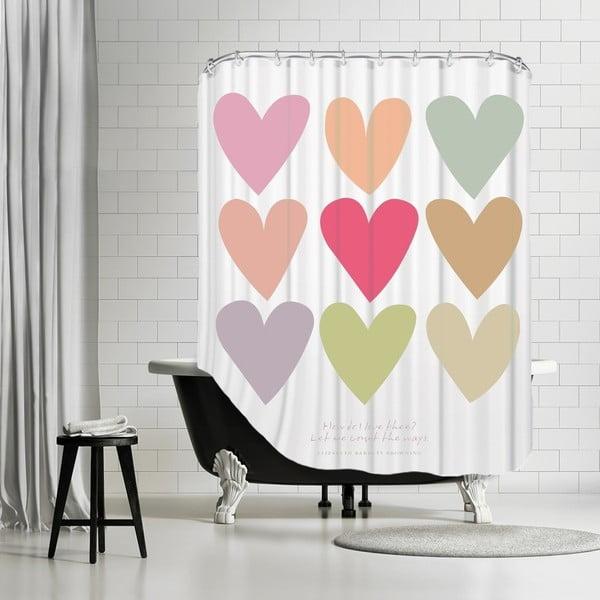 Koupelnový závěs Love Thee Hearts White, 180x180 cm