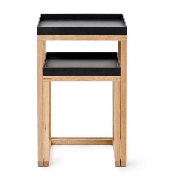Sada 2 dubových odkládacích stolků s černou deskou Wireworks Oak