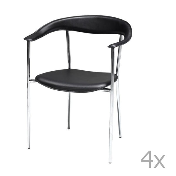 Sada 4 černých jídelních židlí Furnhouse Katja